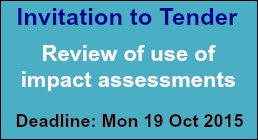 Invitation to tender: Review of use of impact assessments